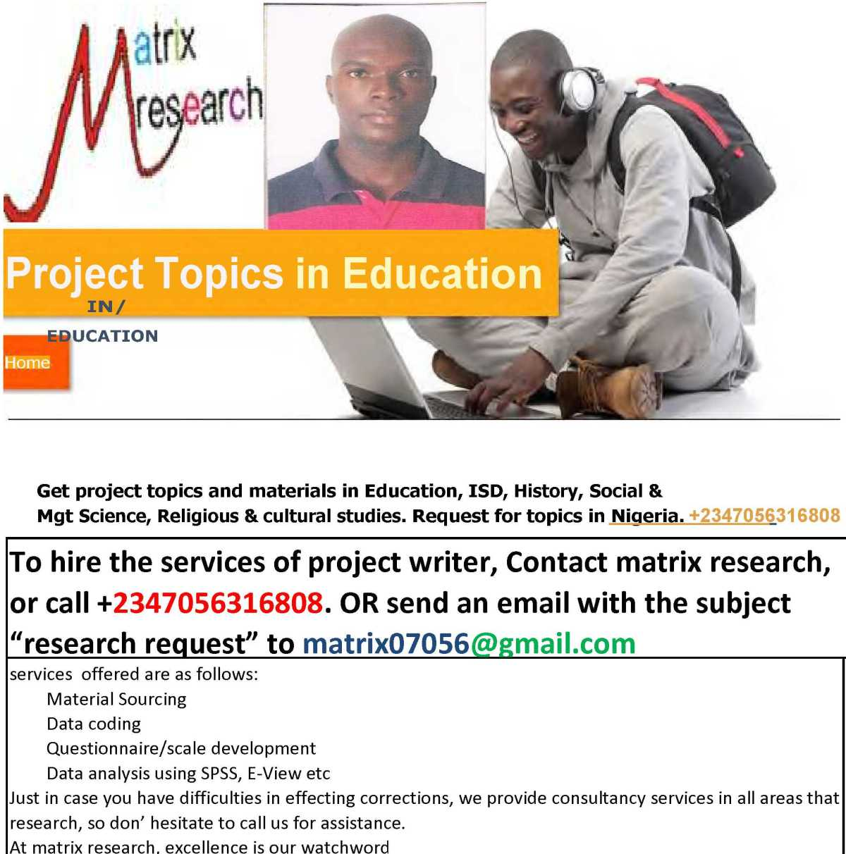 All in one PROJECT/thesis/research Topics andmaterials