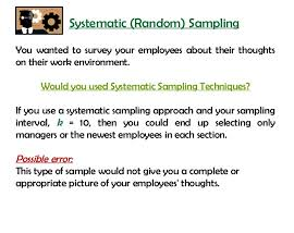 SYSTEMATIC RANDOM SAMPLING TECHNIQUE